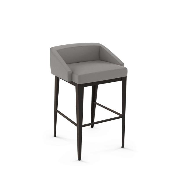 Bailey 26 in. Taupe Gray Faux Leather Dark Brown Metal Counter Stool
