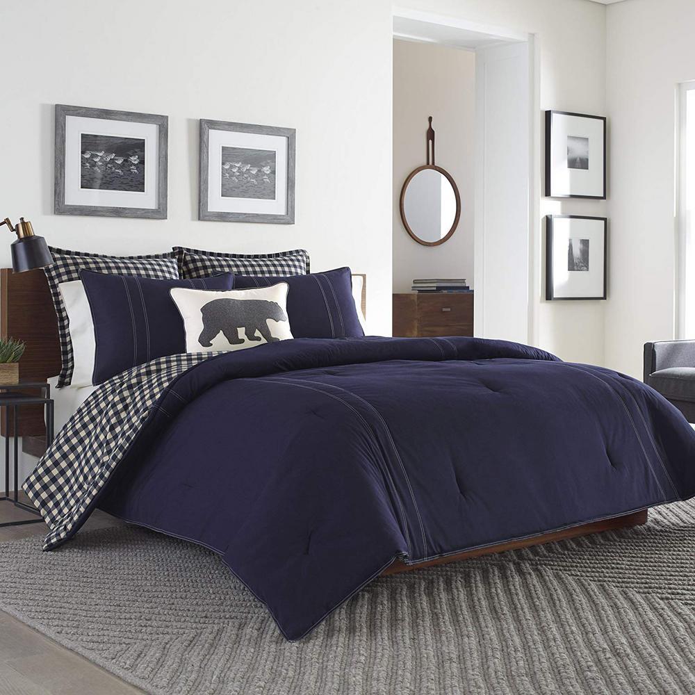 Merveilleux Eddie Bauer Kingston 3 Piece Navy King Comforter Set