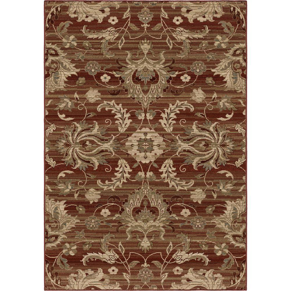 Orian rugs stoke red floral 6 ft 7 in x 9 ft 8 in for Red floral area rug