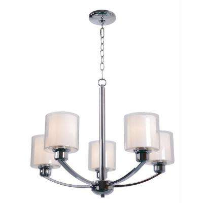 Luna 5-Light Chrome Chandelier with White Glass Shade