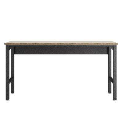 Fortress 37.6 in. H x 72.4 in. W x 20.5 in. D Freestanding Cabinet Garage Table in Natural Wood and Steel