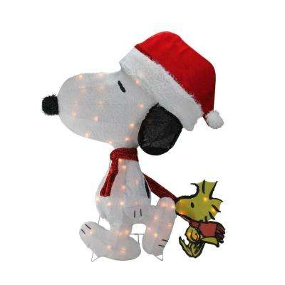 32 in. Christmas Pre-Lit Peanuts Snoopy and Woodstock 2D Outdoor Decoration
