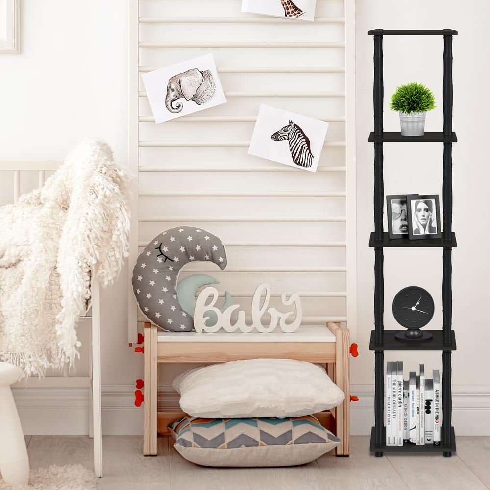 Furinno Turn N Espresso Black 5 Tier Corner Square Rack Display