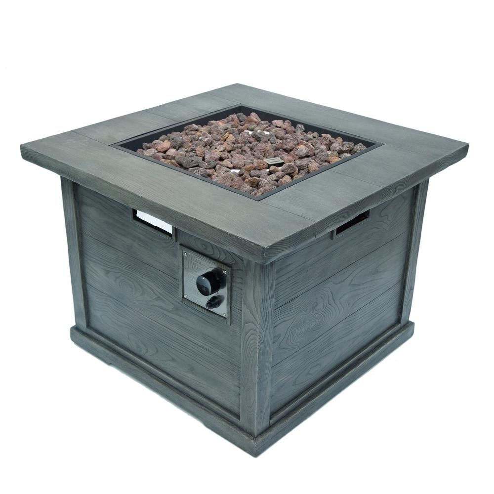 Noble House Ricardo 32 in. x 24 in. Square MGO Propane Fire Pit in Grey with Wood Pattern