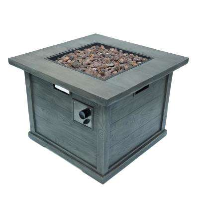 Ricardo 32 in. x 24 in. Square MGO Propane Fire Pit in Grey with Wood Pattern