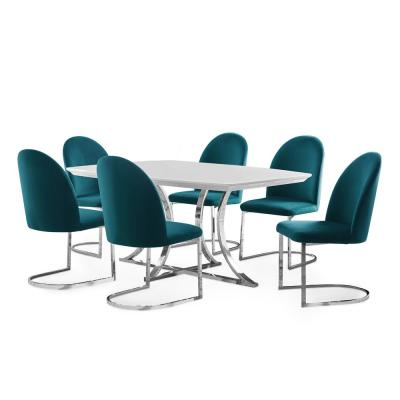 Krista Teal, White And Chrome 7-Piece Dining Set