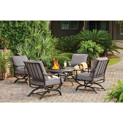 Redwood Valley Black 5-Piece Steel Outdoor Patio Fire Pit Seating Set with CushionGuard Stone Gray Cushions