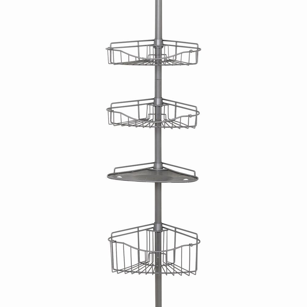 Zenna Home Tub and Shower Tension Pole Caddy with 3 Shelf and 1 ...