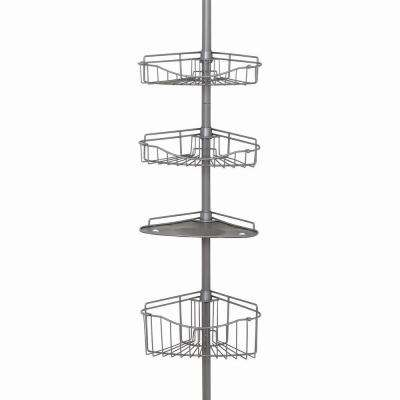 Tub and Shower Tension Pole Caddy with 3 Shelf and 1 Basket in Brushed Chrome