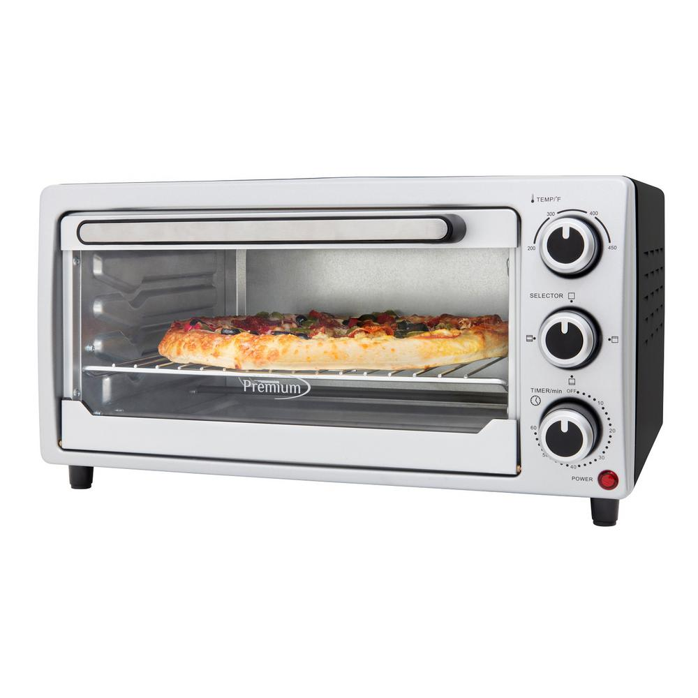 6-Slice Silver Toaster Oven Premiums 6-Slice Silver Toaster Oven makes toasting, baking and roasting convenient and fast. With its large 0.5 cu. Ft. capacity, it can fit a 10 in. pizza. Included is one Wire Rack, Adjustable to two positions, a Removable Enamel Food Tray, and a Tray Handle. The temperature control dial allows for baking from 200 to 450F, and the 60-minute timer with auto-shut off and bell alert you when your meals are ready. This counter top oven is the perfect addition to your home or office kitchen.