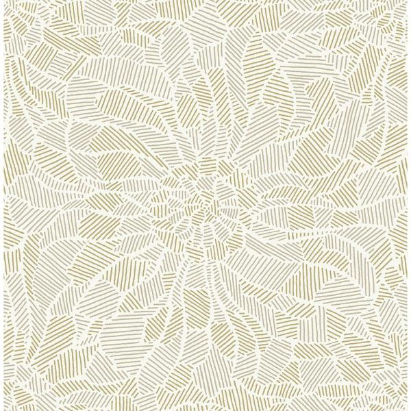 A-Street 8 in. x 10 in. Daydream Honey Abstract Floral Wallpaper