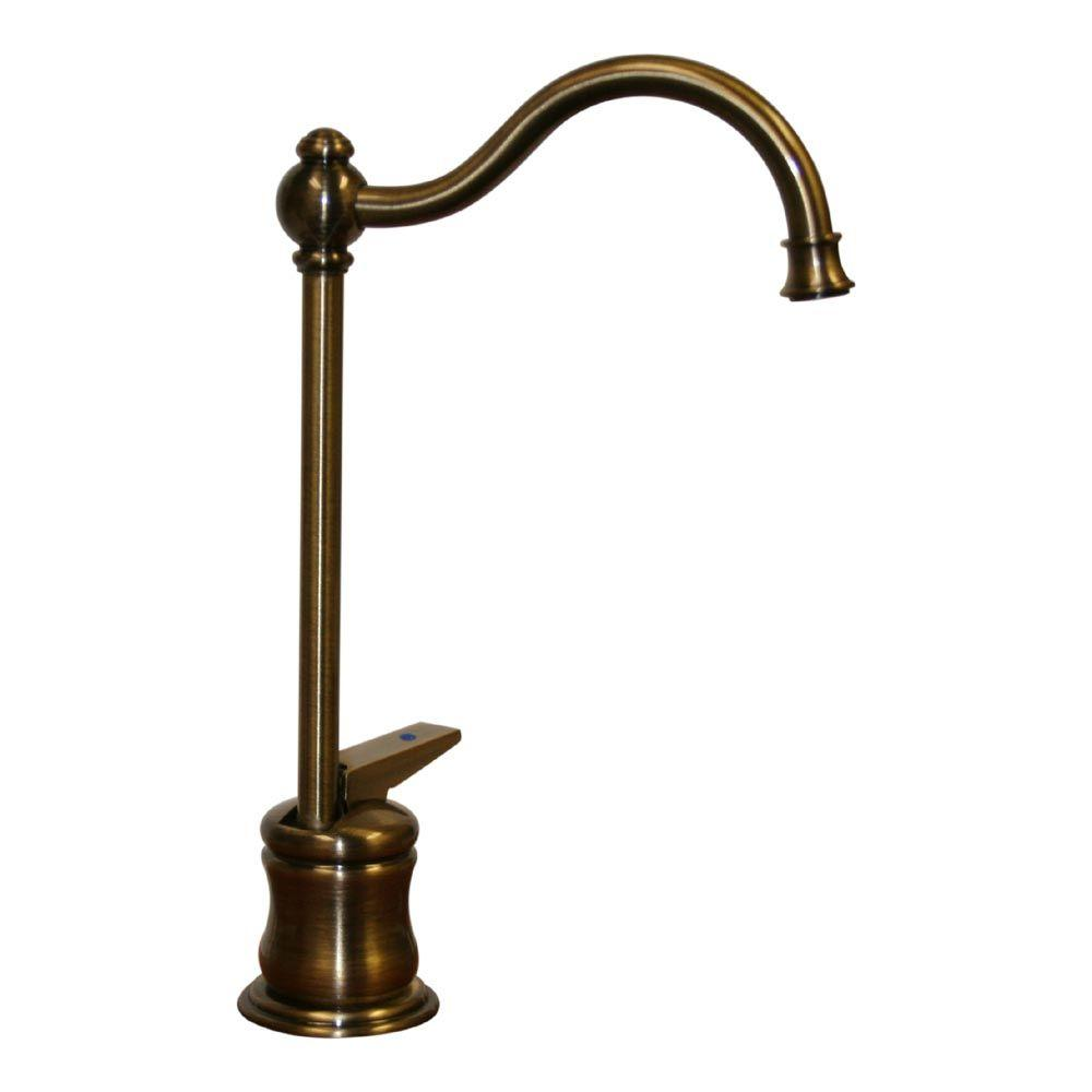 Forever Hot 1-Handle Instant Cold Water Dispenser Faucet in Antique Brass