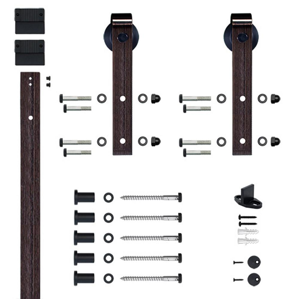 Hook Strap Oil Rubbed Bronze Rolling Barn Door Hardware Kit with