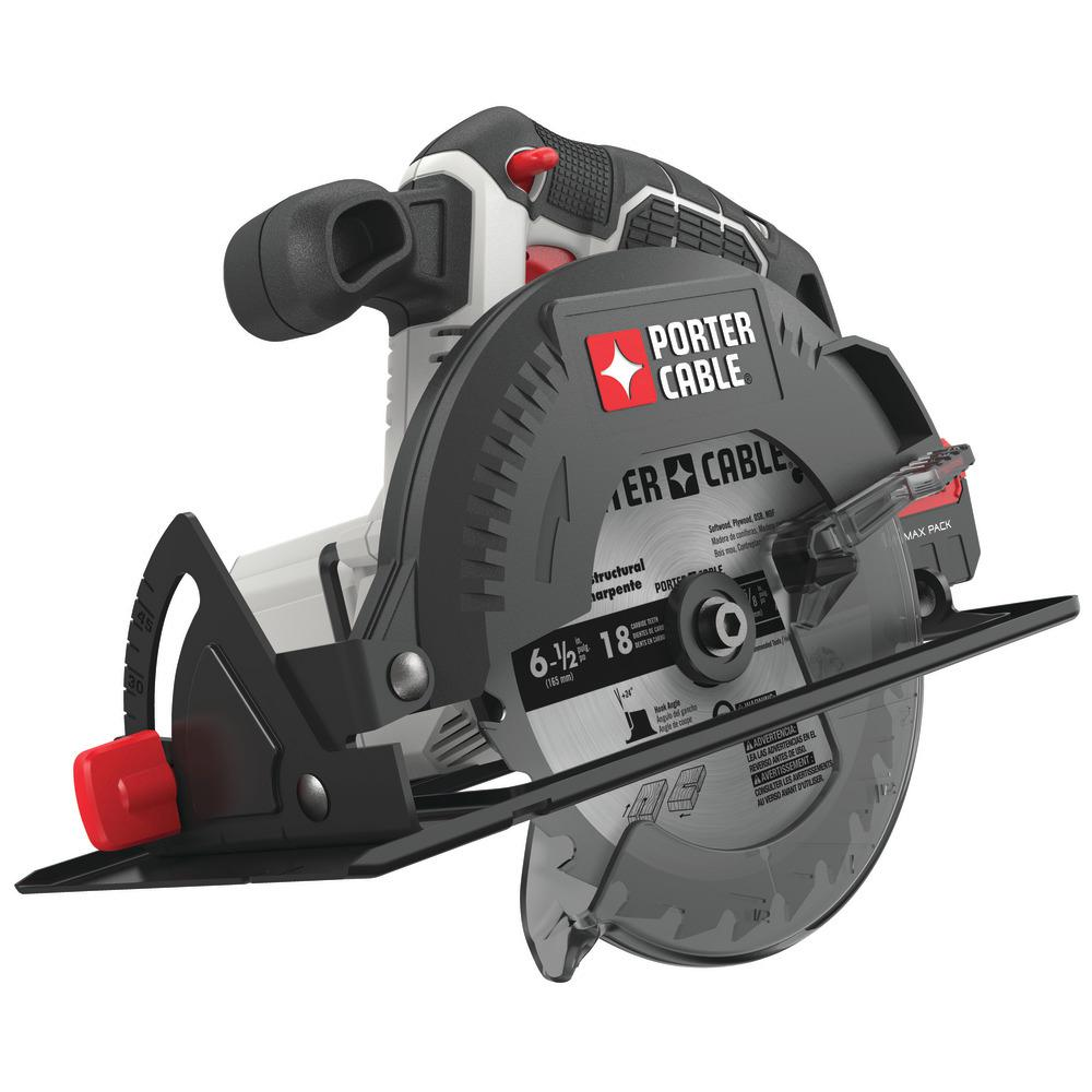 Porter Cable 20 Volt Max Cordless 6 1 2 In Circular Saw Tool Only Pcc660b The Home Depot