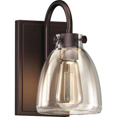 1-Light Antique Bronze Indoor Bath or Vanity Light Vintage-Inspired Wall Mount with Clear Glass Jar Bell Shade