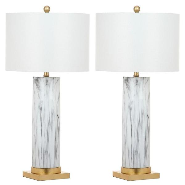 Sonia 31.25 Black/White Faux Marble Table Lamp with Off-White Shade (Set of 2)