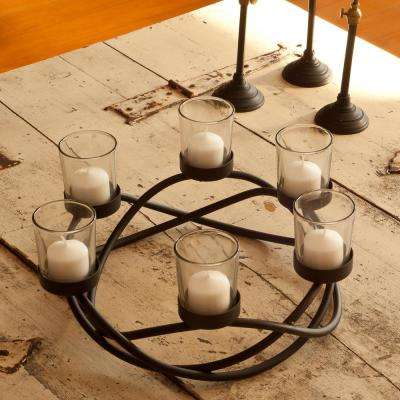 Black Metal Waves Candleholder Centerpiece