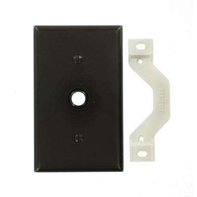 1-Gang Standard Size One 0.406 in. Dia Phone/Cable Opening Plastic Strap Mount Wall Plate in Brown
