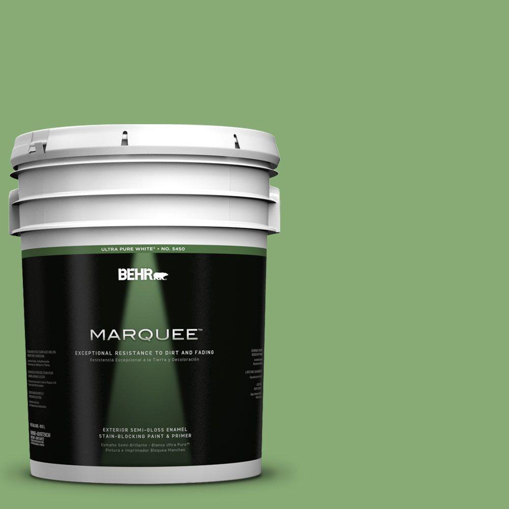 BEHR MARQUEE 5-gal. #440D-5 Pesto Semi-Gloss Enamel Exterior Paint