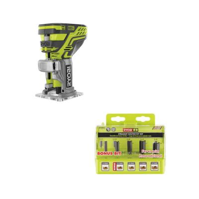 18-Volt ONE+ Cordless Fixed Base Trim Router (Tool Only) with Straight Router Bit Set (5-Piece)