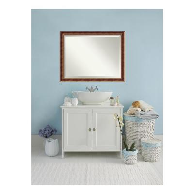 Manhattan Burnished Bronze Wood 46 in. W x 36 in. H Single Contemporary Bathroom Vanity Mirror