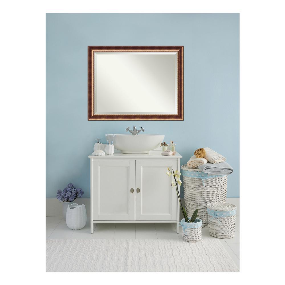 Manhattan Burnished Bronze Wood 46 in. W x 36 in. H Single Contemporary Bathroom Vanity Mirror