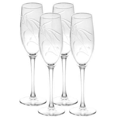 Olive Branch 8 oz. Clear Champagne Flute (Set of 4)