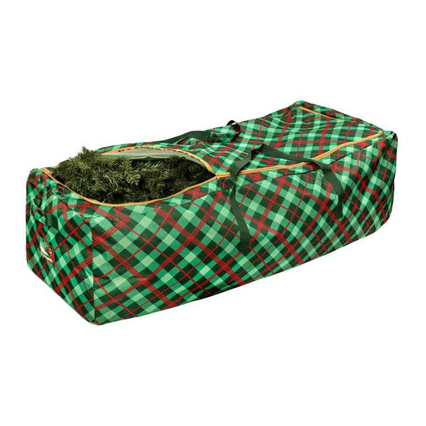 Green and Red Plaid Rolling Artificial Tree Storage Bag for Trees up to 10 ft. Tall