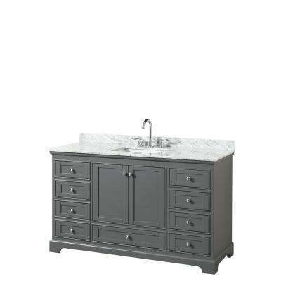 Deborah 60 in. W x 22 in. D Vanity in Dark Gray with Marble Vanity Top in Carrara White with White Basin
