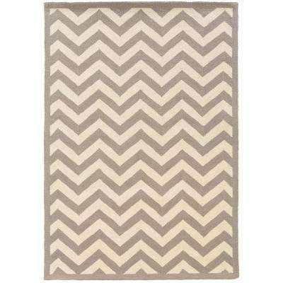 Silhouette Chevron Grey and White 8 ft. x 10 ft. Indoor Area Rug