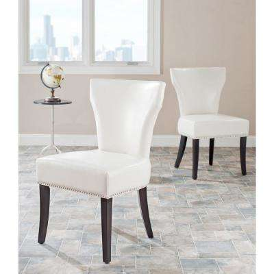 Jappic Flat Cream/Espresso Bicast Leather Side Chair (Set of 2)