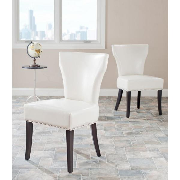 Safavieh Jappic Flat Cream/Espresso Bicast Leather Side Chair (Set of 2)