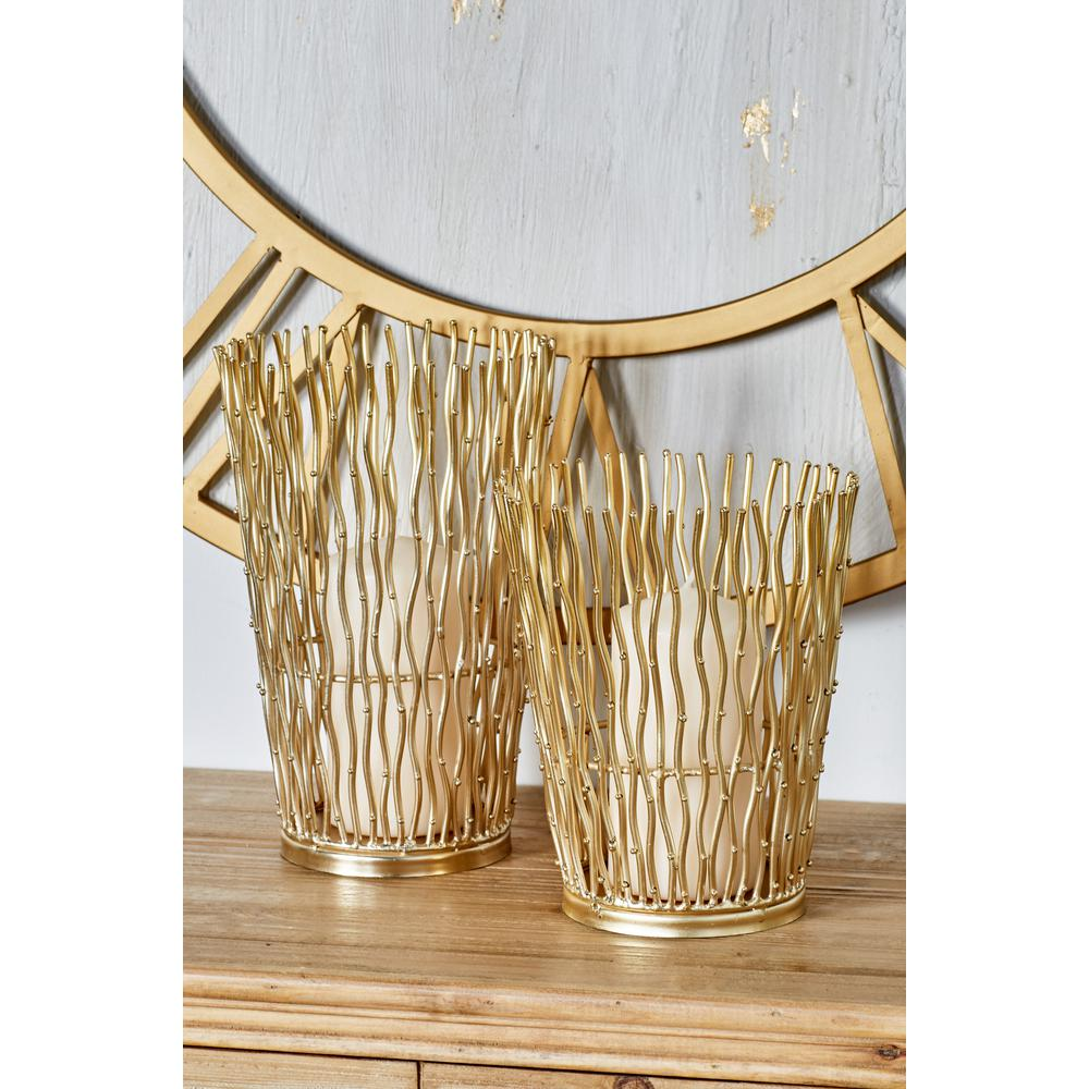 Gold Iron Candle Holders with Wavy Line Patterns (Set of 2)