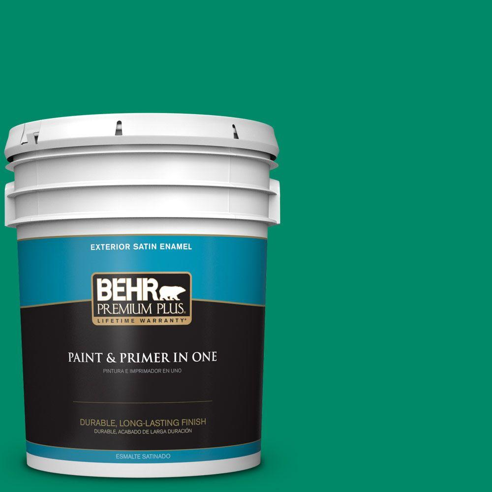 BEHR Premium Plus 5-gal. #S-G-470 Festive Green Satin Enamel Exterior Paint