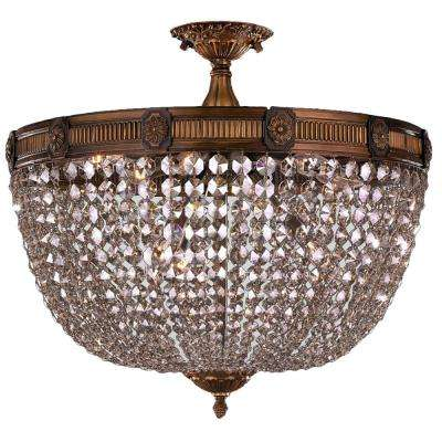 Winchester Collection 9-Light Antique Bronze and Clear Crystal Semi Flush Mount