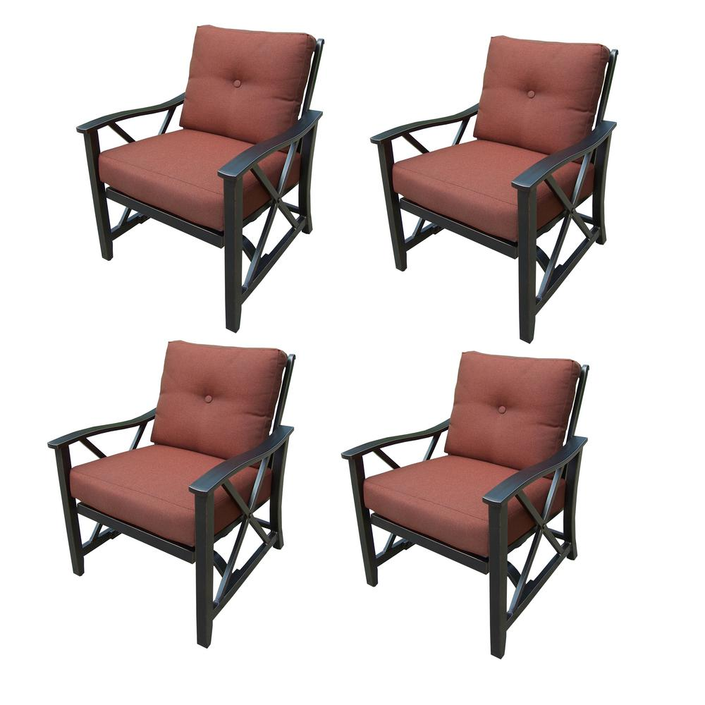 Genial Haywood Aluminum Outdoor Rocking Chair With Red Cushion (4 Pack)