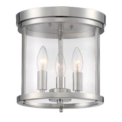 10 in. 3-Light Polished Nickel Flush Mount Light with Clear Glass