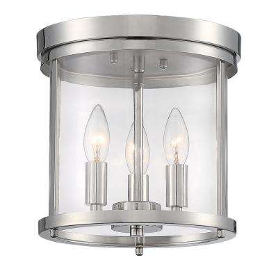 9.87 in. 3-Light Polished Nickel Flush Mount Light with Clear Glass Shade