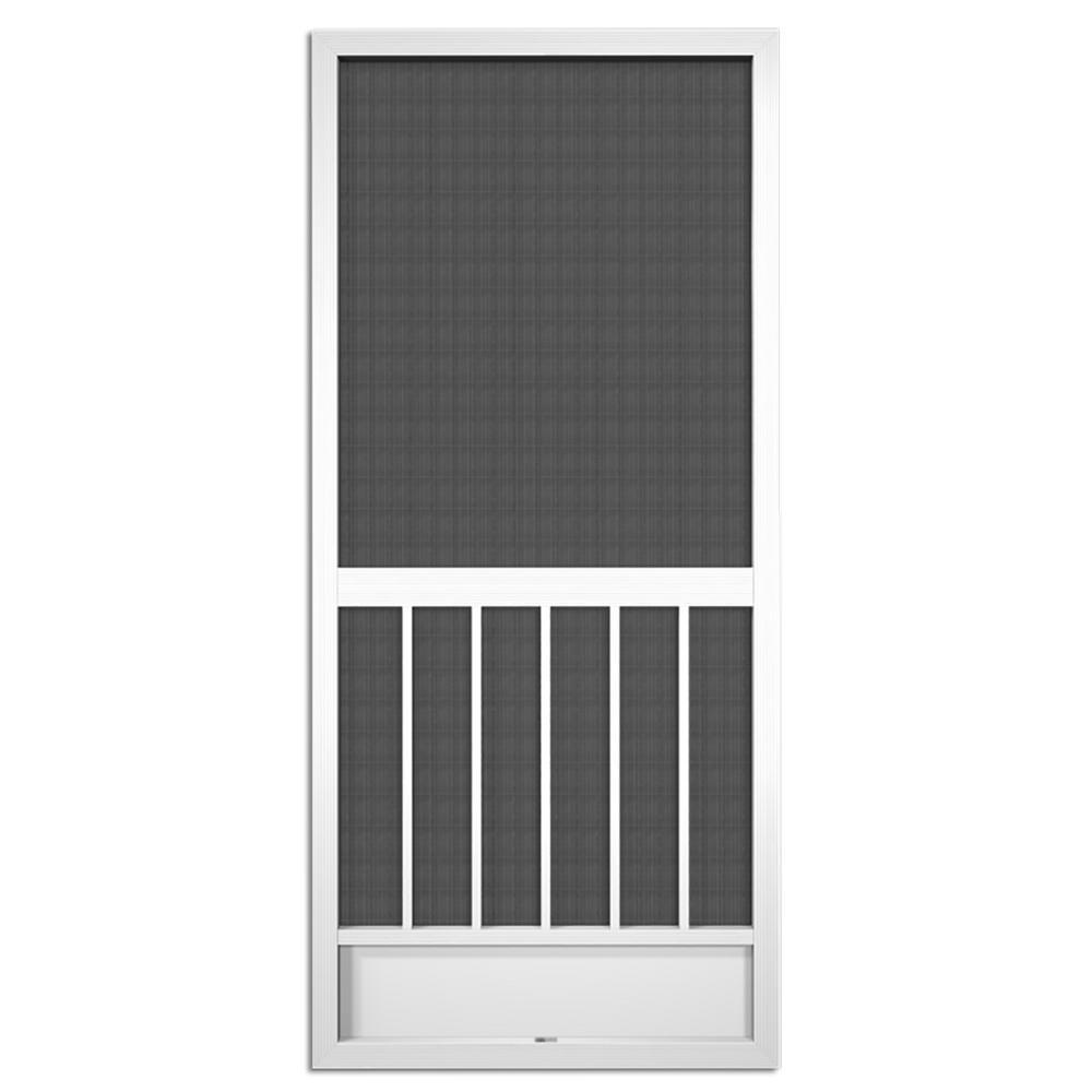36 in. x 80 in. Westmore White Aluminum Screen Door
