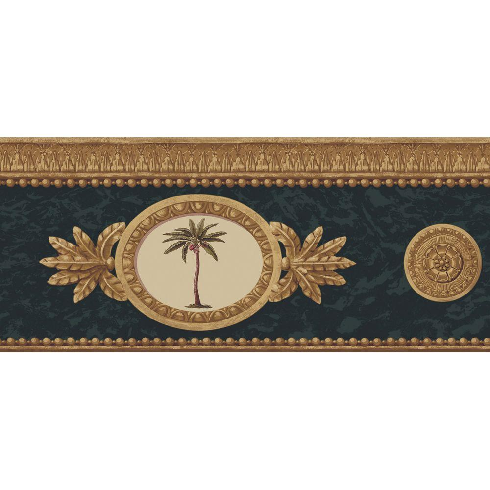 The Wallpaper Company 8 in. x 10 in. Black and Gold Framed Palm Trees Border Sample-DISCONTINUED