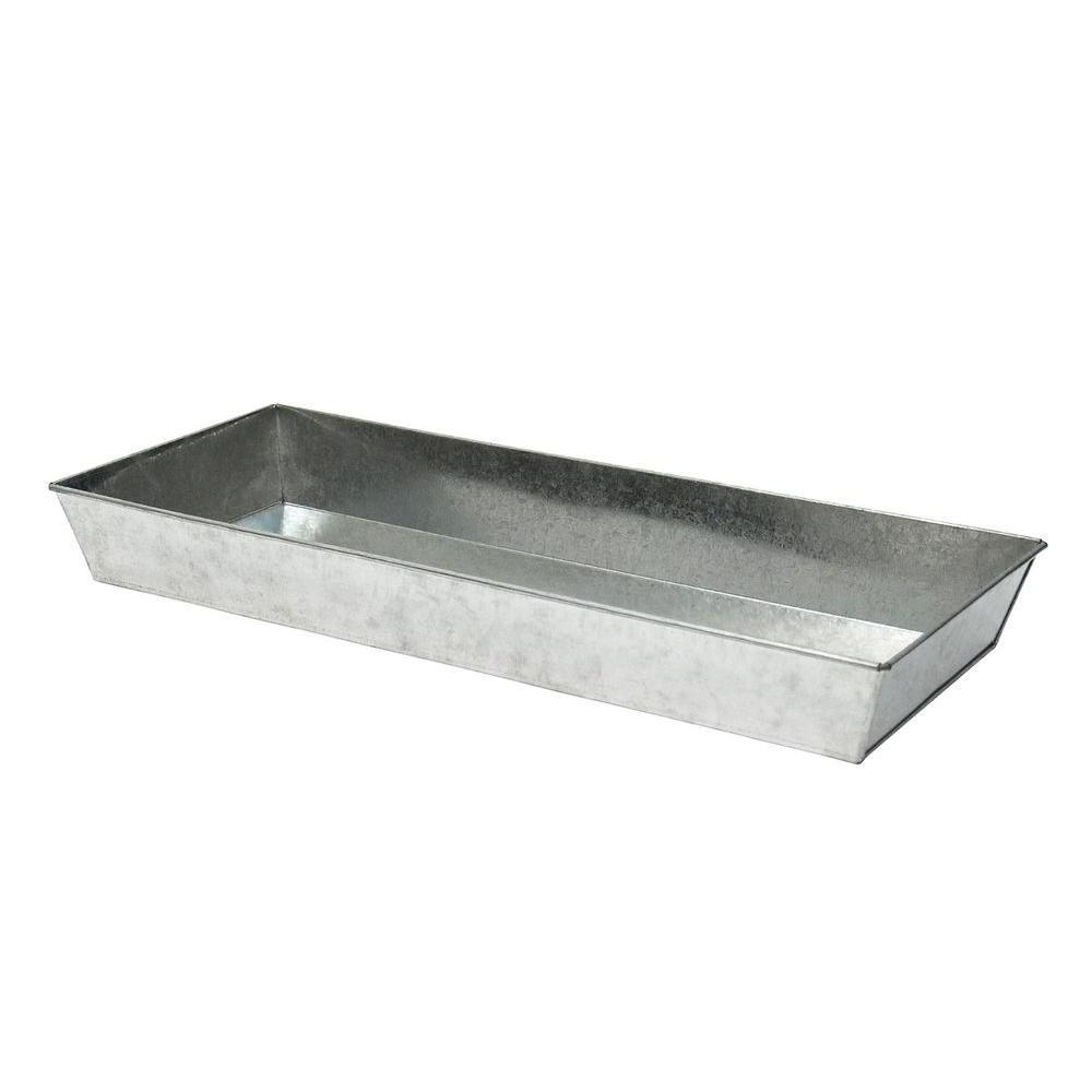 Large Versatile Galvanized Steel Tray, 24 in. W Antique Finish