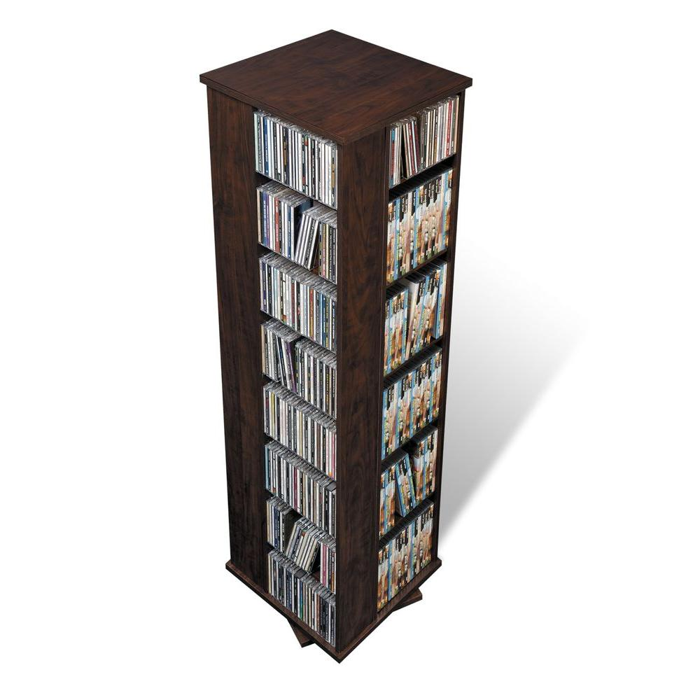 Prepac Espresso Media Storage, Dark Brown Wood Get serious about your media collection with our Large 4-Sided Spinning Tower. Offering storage space for more than a thousand CDs and taking up just under 2 sq. ft. of floor space, this unit is ideal for collectors under space constraints. With fully adjustable shelves and easy access thanks to its spinning mechanism, it's as versatile as it is functional. The tower's horizontal storage makes it easy to fill and reorganize your collection as it grows and changes. It's a great choice for ambitious collectors. Color: Dark Brown Wood.