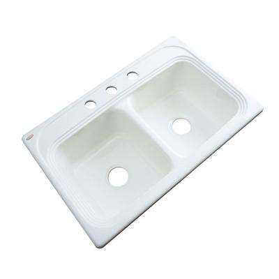 Chesapeake Drop-In Acrylic 33 in. 3-Hole Double Bowl Kitchen Sink in White