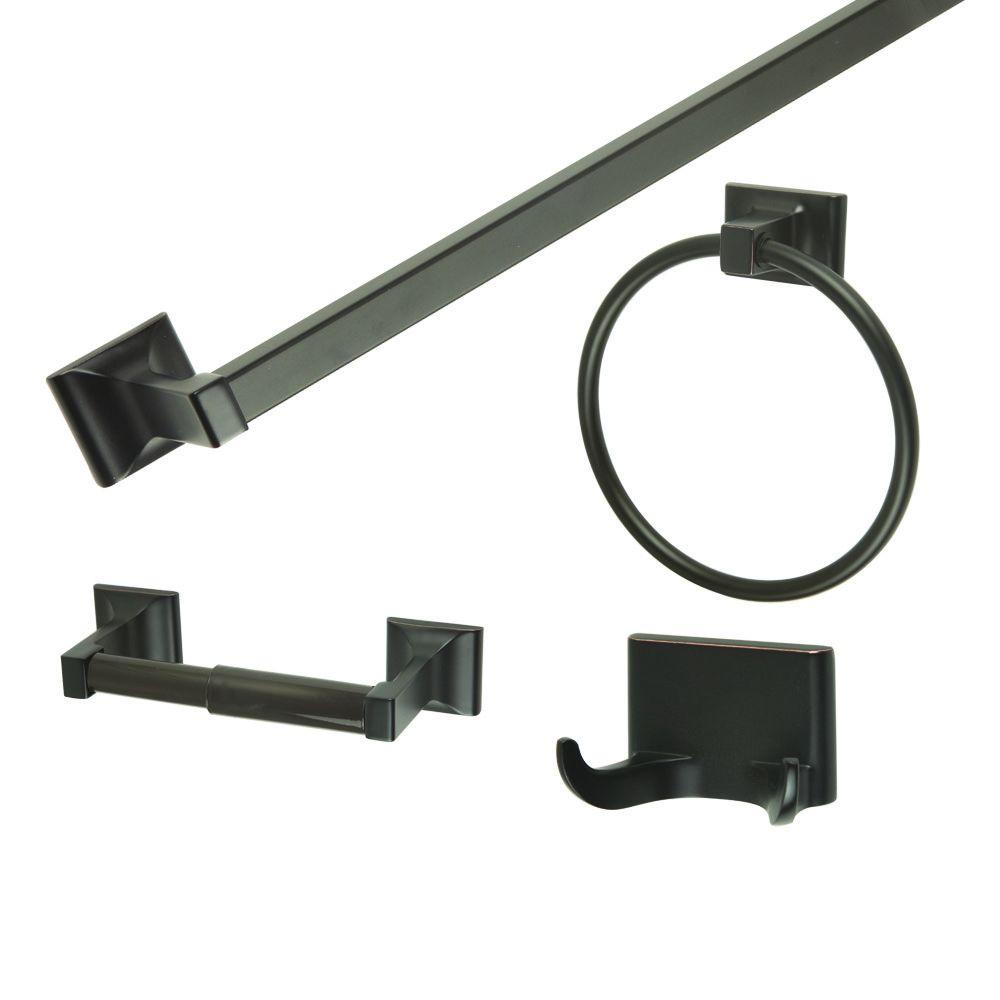 Design house millbridge 4 piece bathroom accessory kit in Oil rubbed bronze bathroom hardware