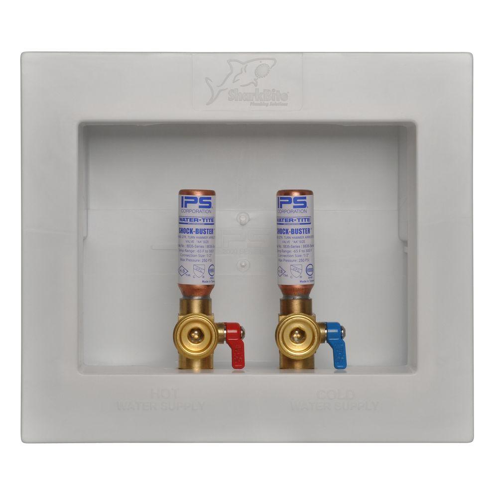 Washing Machine Outlet Box With Water Hammer Arrestors