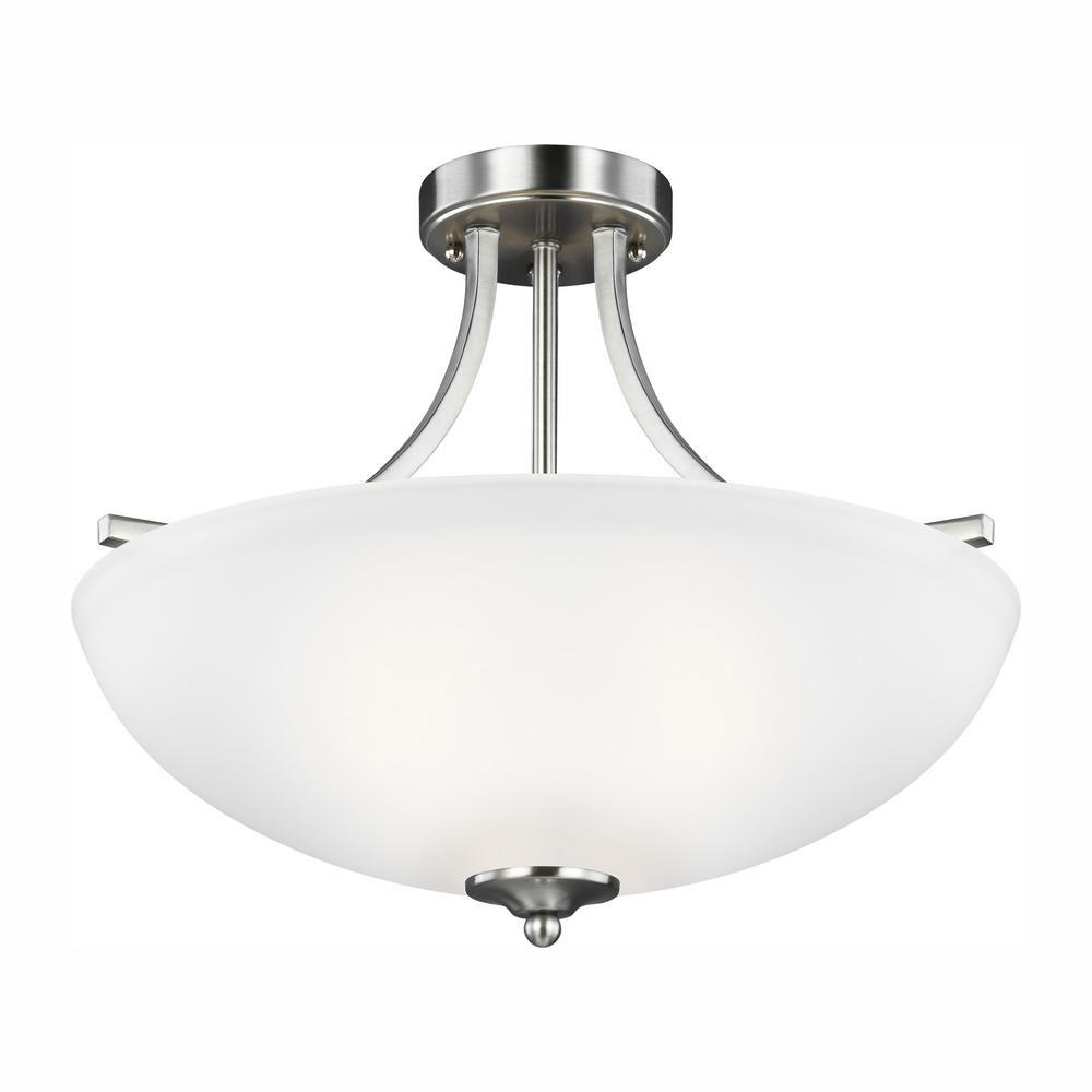 Light Brushed Nickel Semi Flush Mount