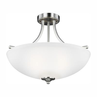 Geary 3-Light Brushed Nickel Semi-Flush Mount Convertible Pendant with LED Bulbs