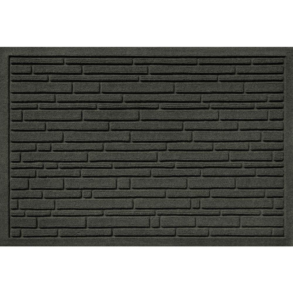 Bungalow Flooring Aqua Shield Broken Brick Charcoal 17.5 In. X 26.5 In.  Door Mat