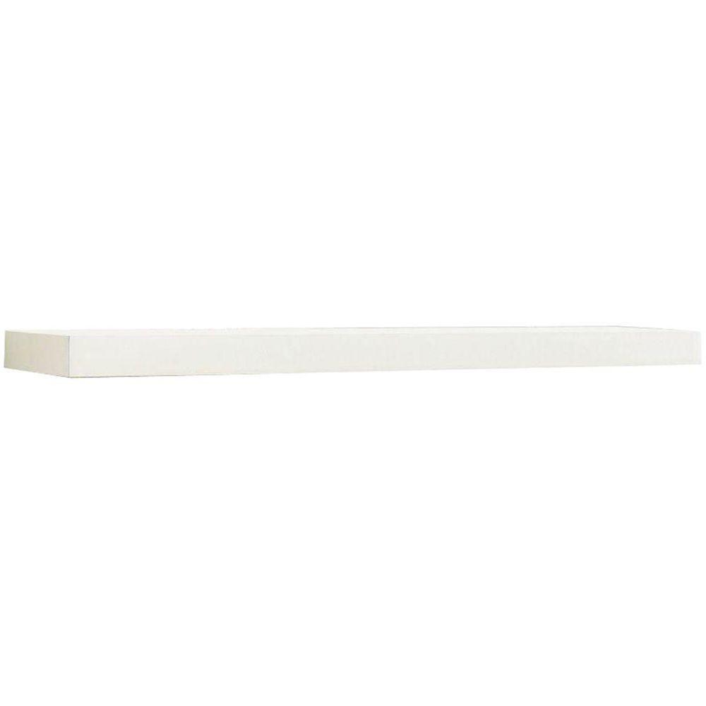 inPlace inPlace 23.6 in. W x 10.2 in. D x 2 in. H White MDF Floating Wall Shelf