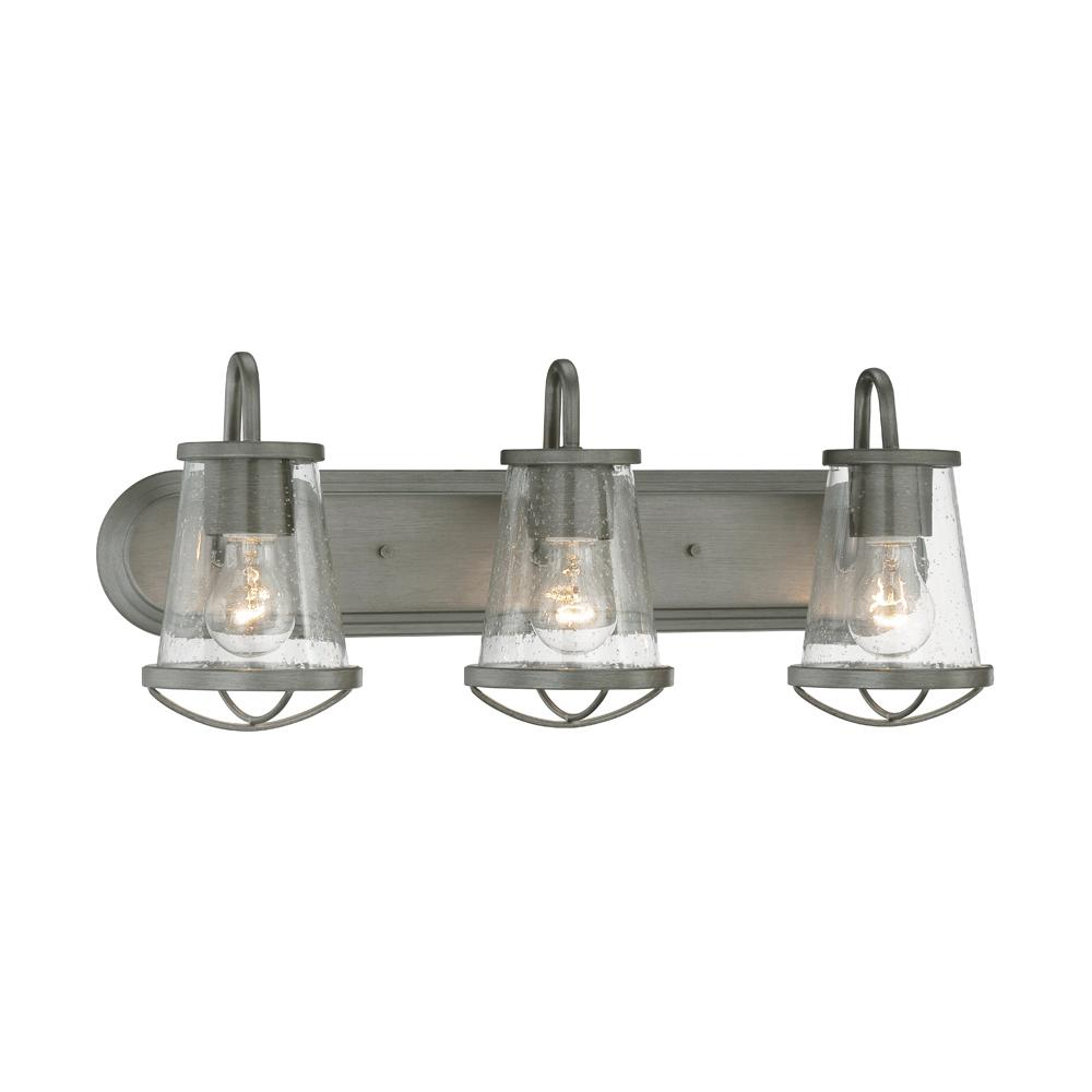 Rustic vanity lighting lighting the home depot darby 3 light weathered iron bath bar light aloadofball Choice Image